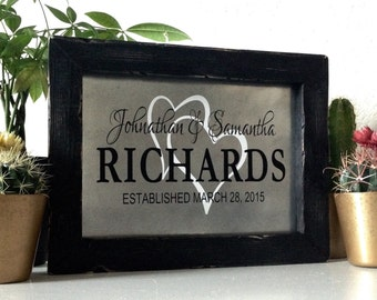 Custom Wedding Signs, Gift For Newlyweds, Two Hearts Sign, Personalized Wedding Sign, Wedding Date, Last Name Sign, Custom Wedding Present