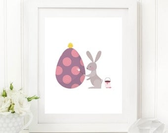 Easter Printable Easter Bunny Print Easter Wall Art Easter Egg Print Easter Bunny Wall Art Rabbit Printable Spring Decor Lavender Pink