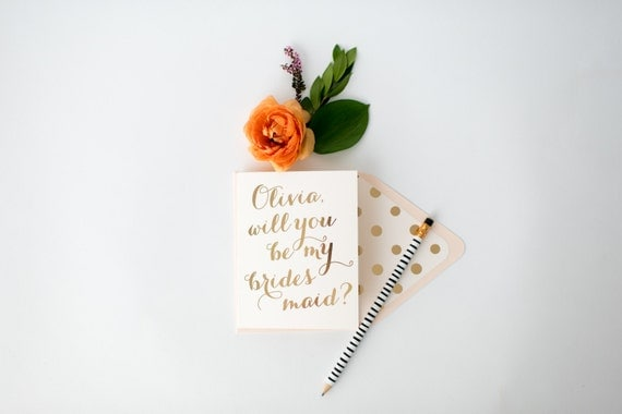 personalized gold foil will you be my bridesmaid cards + lined envelopes  // lola louie paperie