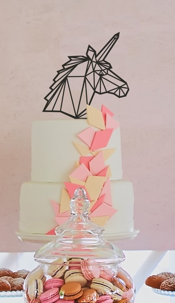 Unicorn Cake Topper, Birthday Cake Topper, Geometric Unicorn, Glitter Cake Topper, Wooden Cake Topper, Rustic Cake Topper