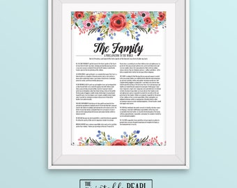 Floral LDS Family Proclamation Printable - 11x14 - Bright Multicolor - Instant Digital Download - Latter-day Saints - Mormon