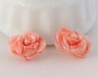 Vintage Angel Skin CORAL Earrings Undyed Natural Hand Carved Flower Post Pink Genuine