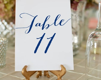 1-50 Navy Wedding Table Numbers, Printable Wedding Table Number Cards, Navy Wedding Table Decor, 5x7 Table Number Card, Instant Download