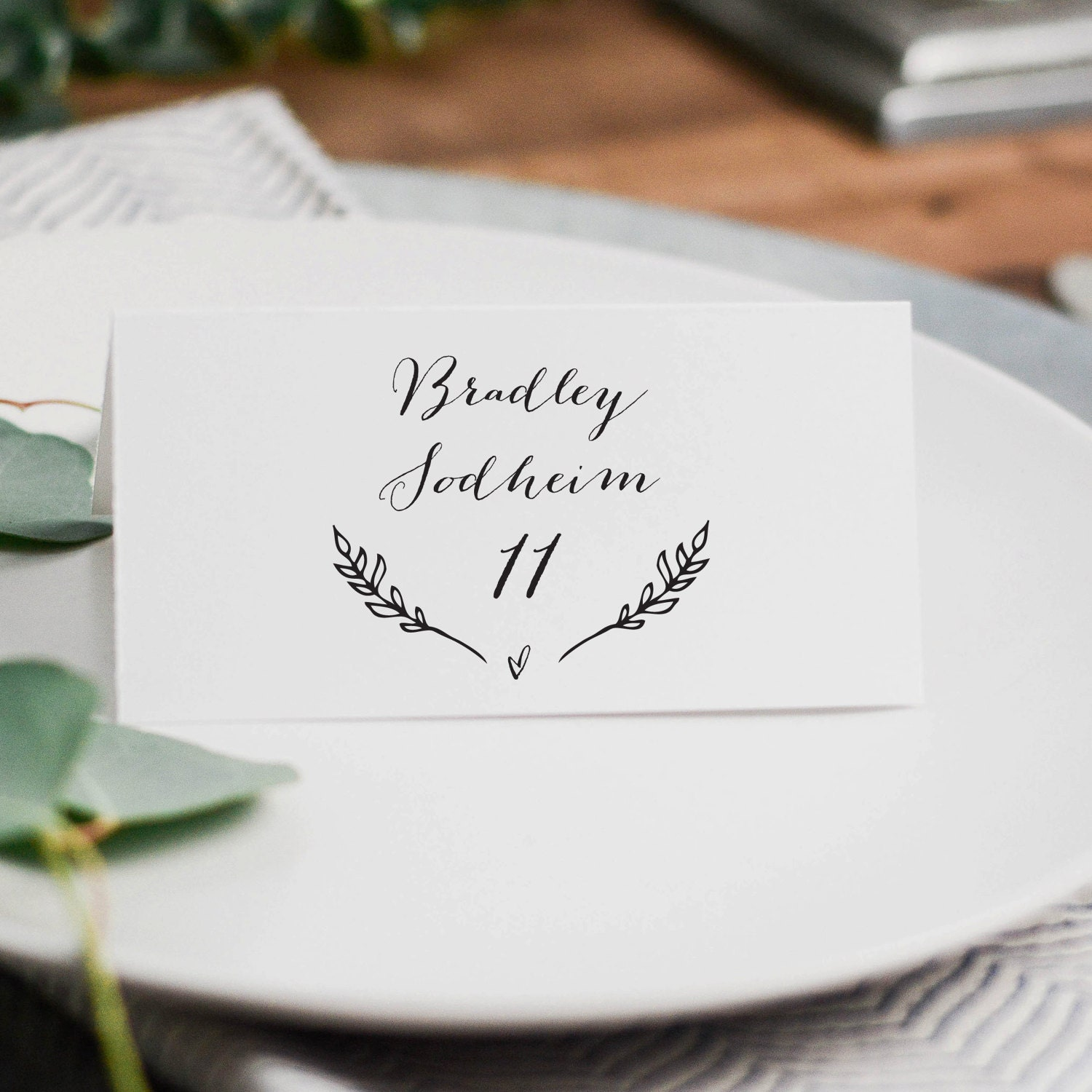 Rustic Wedding Place Cards Template, Printable Wedding Place Cards ...