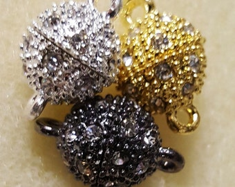 Rhinestone Pave Encrusted Magnetic Clasps, 3 sets per package, same color. You pick!