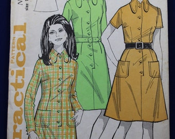 1960's Sewing Pattern for a Woman's Shirt-Dress in Size 16 - Practical 6540