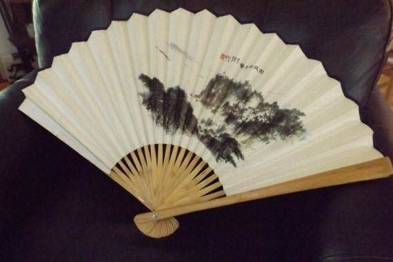 Vintage Hand Painted Japanese Paper Amp Wood Fan Painted Paper