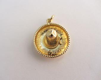 14k Gold 3-D Mexican Sombrero Hat Charm / Pendant - 1.92g