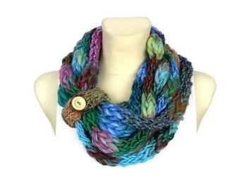 Knitted Necklace - Knit Infinity Scarf - Knit Scarf Necklace - Girlfriend Gift - Womens Infinity Scarfs - Finger Knit Scarf Gift for her