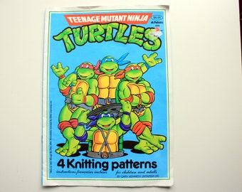 Teenage Mutant Ninja Turtles Knitting Patterns / Patons 556 /  Ninja Turtles Sweater Pattern / Intarsia Pattern