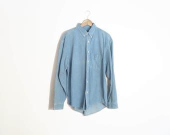 Vintage 90s Denim Button Down Shirt Size L