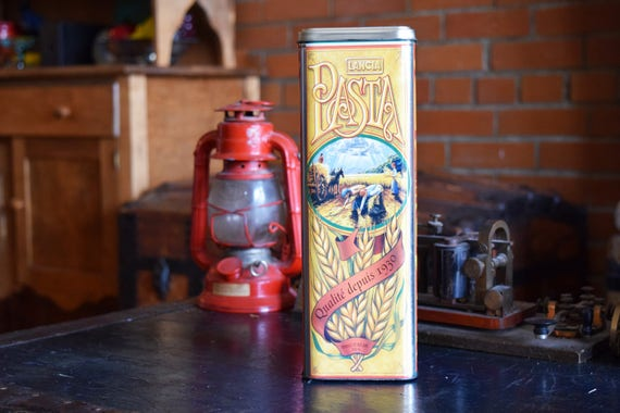 Lancia Pasta Spaghetti Tin - Quality Since 1930 - Noodle Storage Container - Vintage Advertising Box - LANCIA BRAND PASTA - L3