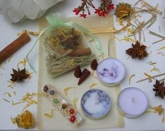 7 Chakras Selenite Wand Herbal Zen Kit / Wire Wrapped Selenite Chakra Wand Gift Set / Palm Size Selenite Gemstone Wand Beginner Starter Kit