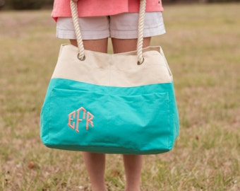 Monogrammed Canvas Beach Tote | Beach Tote Bag | Canvas Tote Bag | Rope Beach Bag | Pool Bag | Monogrammed Gift | Bridesmaid Gift | Beaufort
