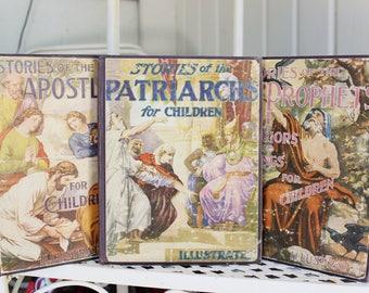 Antique Illustrated BIBLE STORIES Book Bundle 1920's, Vintage Decorative Books, Antique Children's Books