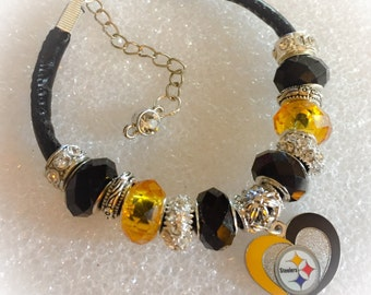 Pittsburgh Steelers inspired jewelry bracelets and necklace