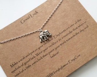 Elephant Necklace, Lucky Charm Necklace, Silver Elephant Necklace, Birthday Gift,Christmas Gift