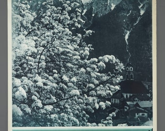 1960s Germany Bavarian Alps Spring In Mittenwald Travel Poster 19.5 x 29 Vintage Poster Original
