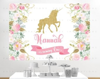 Unicorn Birthday Banner, Unicorn Backdrop, Baby Shower, Floral Backdrop, Gold, Printable, Backdrop Banner, Poster, Floral Birthday Backdrop