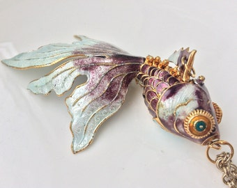 Enamel Fish Necklace Chinese Koi Fish Amethyst Lilac Purple White Cloisonne Asian Silver Gold Articulated Fish Wiggle Figural 1950s Pendant