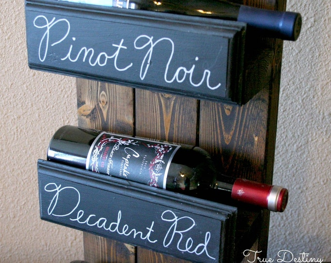 3 bottle wall hanging wine rack holder - antique, country, cottage, rustic, chic, cabin, chalkboard, home decor, barn wood, TDD9-3
