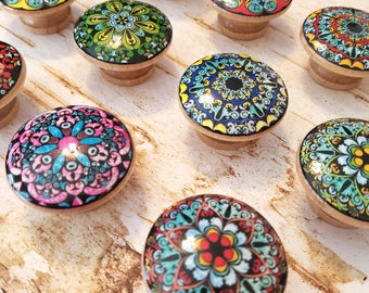 ON SALE Mandala Knobs, Choose Style By Number, Round Drawer Pulls, Colorful Dresser Knobs, Oriental Mandala Designs, Made To Order