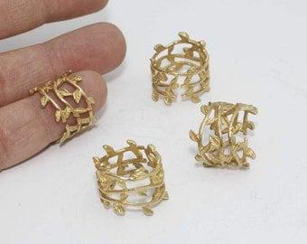 Raw Brass Leaf Rings , 16-17mm Leaf Rings, Leaf Jewelry, Adjustable Rings, LA, SOM233