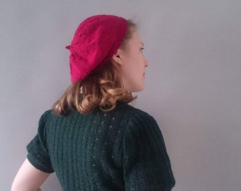 ladies beret 1940s style deep red Knitted pure wool beret ladies 1940s accessories  1940s beret retro ladies accessories