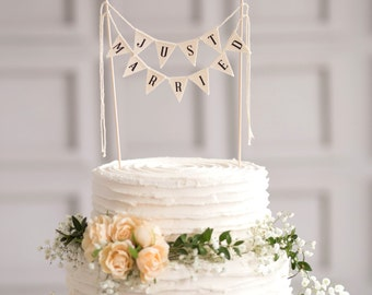 Just Married Wedding Cake Topper Banner, Rustic wedding Cake topper, Wedding Cake Topper, Just Married Cake Topper, Ivory Cake Topper