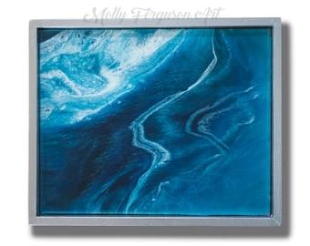 Resin Art Painting / Original Abstract Painting / 8x10 Art / Wall Art Decor / Water Ocean Waves / Landscape / Modern Art / Molly Ferguson