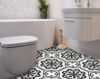 Vinyl Floor Tile Sticker - Floor decals - Carreaux Ciment Encaustic Testino Tile Sticker Pack in Black & Off White