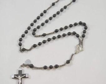 Vintage French Black Beaded Rosary Wood Metal Crucifix Hang Tag Made in France Catholic Rosary Black Rosary Catholic Gift