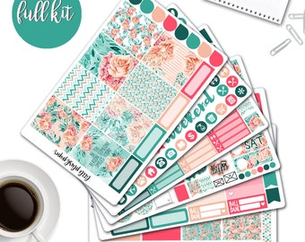 MATTE | Erin Condren Planner Stickers | Weekly Kit | Flower Power | Vertical ECLP | Full Kit