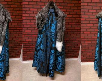 Game of Thrones cloak, GOT cosplay cloak, Sansa Stark costume cape, Jon Snow cloak, medieval fantasy cloak with faux pelt
