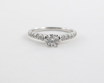Diamond Engagement Ring 14k White Gold Solitaire With Accent Size 7 1/4  0.50 carat