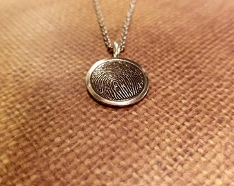 INK-1 MEDIUM framed FINGERPRINT Round Necklace in solid Fine .999 Silver-includes chain