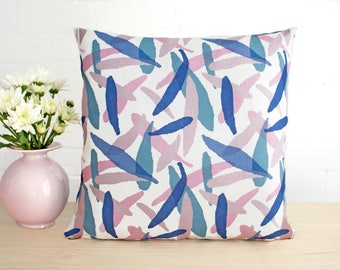 Pillow cushion cover in blush pink and midnight blue leaf print with cotton velvet back. Australian designed and made.