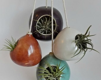 Ceramic Hanging Planters - Set of 4 - Air Plant Holders - Birdhouse Style Pottery - Unique Decorative Planters - Stoneware Modern Birdhouses