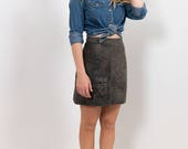 80s Soft Black/Charcoal Leather Vintage Mini Skirt / Genuine Pigmented Leather, A-line Skirt