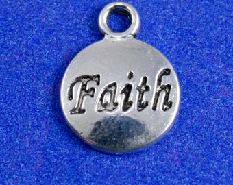 "Antiqued Silver ""FAITH"" Message Charm, Silver Faith Round Word Pendant- AS-B25749-8S"