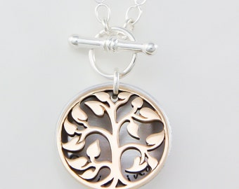 Hand stamped necklace for mom, mothers necklace, necklace with bronze tree charm, gift for mom