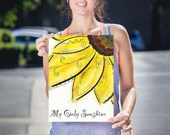 Lustre Sunflower Art Prints, Yellow Flower Art Prints, Sunflower Wall Decor, Yellow Flower Wall Art, My Sunshine Wall Art