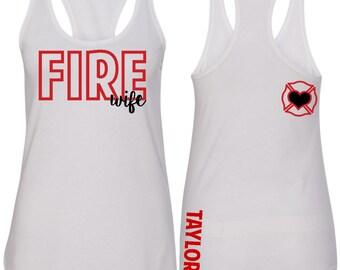 Fire Wife Tank Top, Fire Dept Wife Tank, Fire Wife Racerback, Fire Wife Shirt, Firefighter Love, Wife Gift, Mom Gift