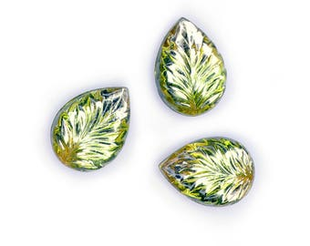 Vintage glass Cuba stones, two toned, pear shaped, doublets, leaf texture, Germany 1950s, 18x13mm - 2 pcs