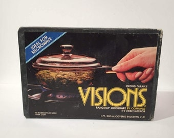 Pyrex Visions Glass Saucepan, New in Box, Vintage 1984 Unopened Pyrex Visions Cookware Saucepan with Lid, Amber Brown Pyrex Covered Saucepan