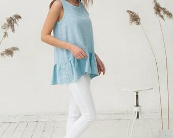 Ruffled light blue linen top. Oversized tunic. Stonewashed linen clothing for women.