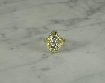 Diamond 14K Filigree Retro Victorian Design Ring ( size 7.75 )