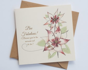 """Bee Fabulous """"Bee-Attitudes"""" by Love Bee Card   Friendship    Encouragement   Just Because Card"""
