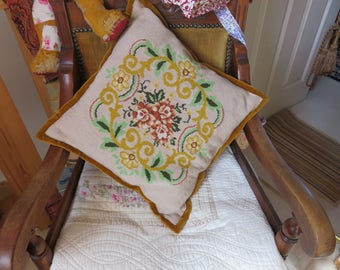 Vintage Needlepoint Tapestry  Cushion Hand Stitched