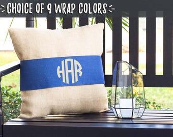 Burlap Monogram Pillows, Custom Pillows, Interchangeable Pillow Wraps, Accent Pillows, Last Name Pillows, Porch Swing Pillows, 502748786